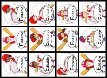 Editable!! Baseball Themed Labels & Tags & Hall Passes Bundle