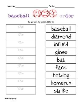 Baseball Themed Langague Arts Packet