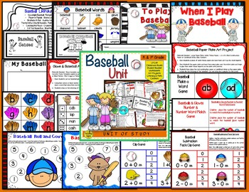 Baseball Themed Literacy & Math Bundle