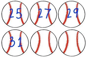 Baseball Themed Locker Numbers