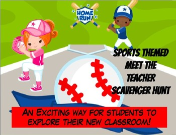 Editable Baseball Themed Meet the Teacher Scavenger Hunt