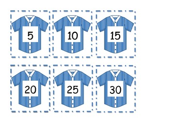 Baseball Themed Number Cards - 5's and 10's
