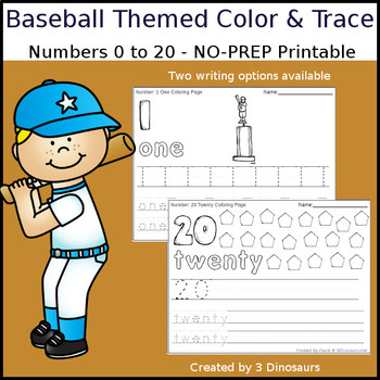 Baseball Themed Number Color and Trace