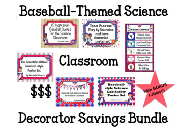 Baseball-Themed Posters for the Science Classroom Savings BUNDLE