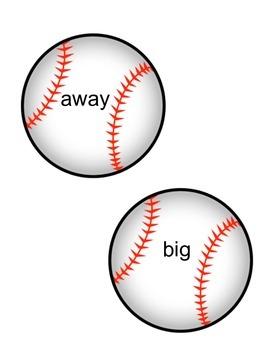 Baseball Themed Pre-Primer Sight Words