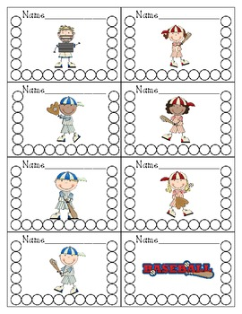 Baseball Themed Punch Cards