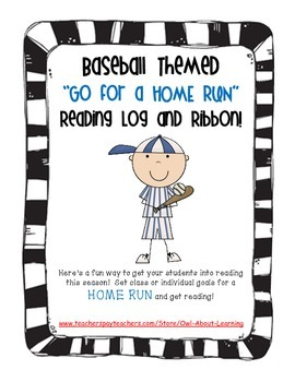 Baseball Themed Reading Log for Classroom and/or Home!