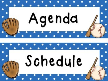 Baseball Themed Schedule Cards Labels Daily Agenda Reminders Classroom Display