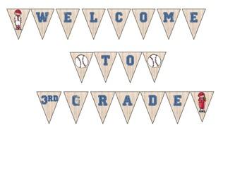 Baseball Themed Welcome Banner