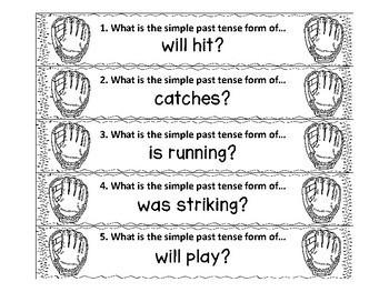 Baseball Verb ZAP Simple and Progressive Tenses