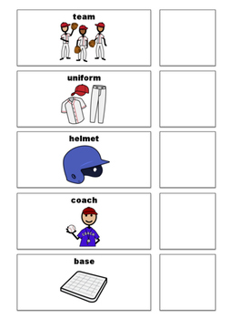 Baseball Vocabulary Picture Matching