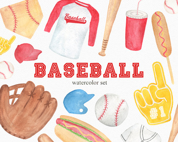 Baseball Watercolor Clipart Pack, PNG Transparent Sports Set