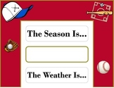 Baseball Weather Chart! Baseball Bulletin Board! Baseball