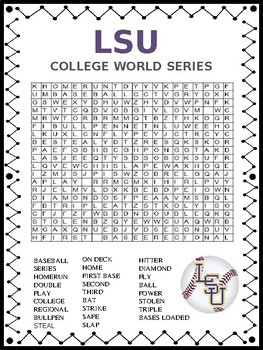Baseball Word Search Puzzle