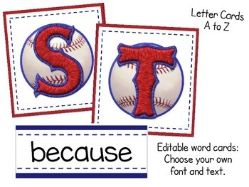 Baseball Word Wall Sports Theme with EDITABLE Word Cards