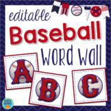 Baseball Word Wall Sports Theme with EDITABLE Word Cards