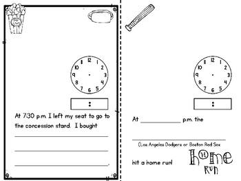 Baseball World Series (Telling Time Mini Book) Freebie