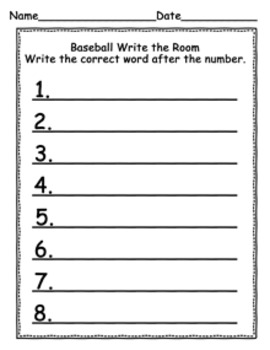 Baseball Write the Room Activity