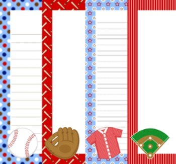 Baseball Writing Paper - 3 Styles- ( 7 1/2 x 10 )