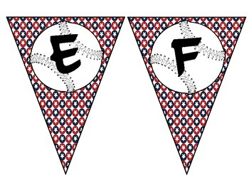 Baseball alphabet pennant with background of stars (red, white, & blue)