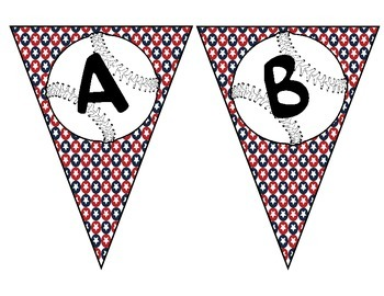 Baseball alphabet pennant with background of stars (red, w