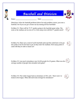 Baseball and Division with Remainders Math Activity