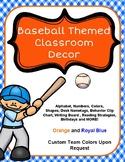 Baseball and Gingham Classroom Theme Decor: Orange and Royal Blue