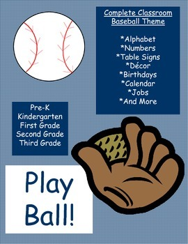 Baseball and Gingham Classroom Theme Decor (Navy and Gray)
