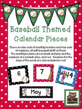 Baseball and Polka Dot Themed Calendar Set w/Days of the Week