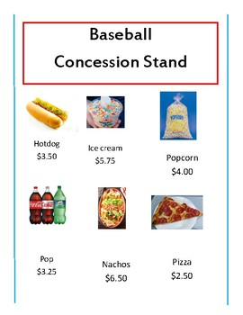 Baseball concession stand math