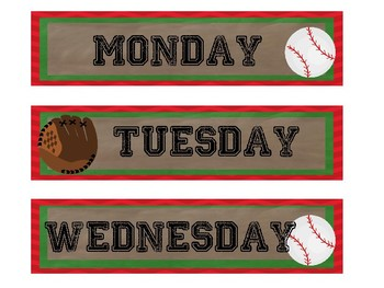Baseball days of the week labels for sterilite drawers