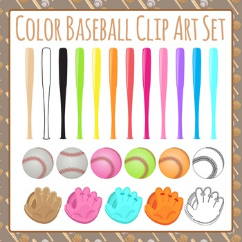 Baseball in Color Clip Art Set for Commercial Use