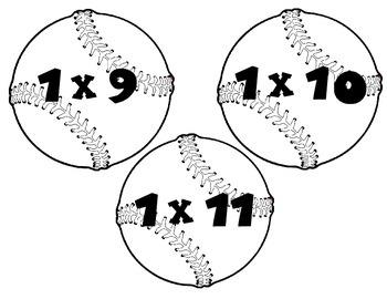 Baseball multiplication flash cards
