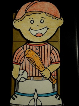 Baseball player paper bag puppet