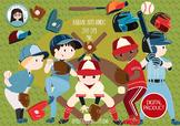 Baseball softball boy cliparts