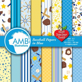 Digital Papers - Baseball paper and backgrounds, Sports theme, AMB-511