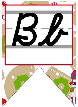 Baseball themed Cursive Alphabet banner