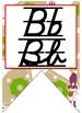 Baseball themed D'Nealian manuscript &cursive Alphabet banner