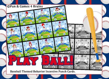 "Baseball themed ""VIP"" Behavior, Incentive Punch Cards"