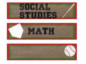 Baseball themed objectives labels