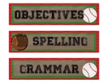 Baseball themed objectives labels