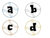 Baseballs with lower case alphabet