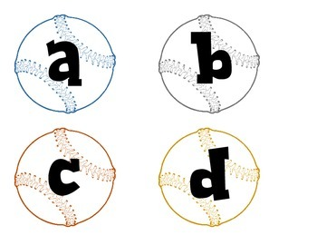 Baseballs with lower case alphabet