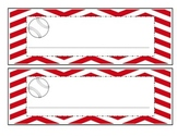 Baseball with red chevron name plates, job titles, table group labels