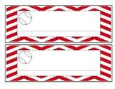 Baseball with red chevron name plates, job titles, table g