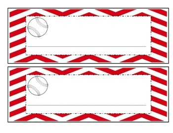 Baseball with red chevron name plates, job titles, table g