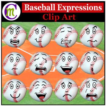 Baseballl Expressions Clipart | Sports Ball Emotions Clip Art