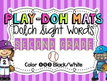 Baseballl Sight Word Play Doh Mats {Dolch Second Grade}