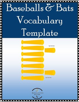Baseballs & Bats Template Math Vocabulary Matching Stations