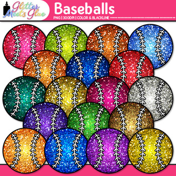 Rainbow Baseball Clip Art {Sports Equipment for Physical Education Teachers}